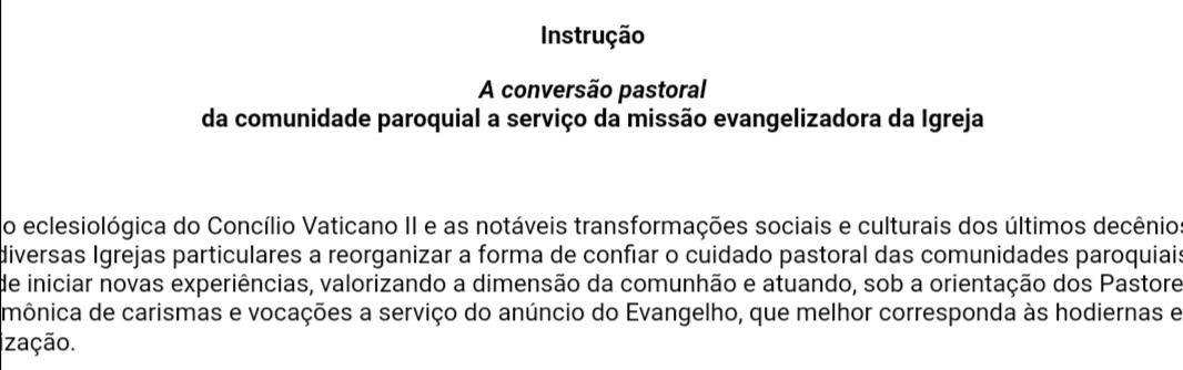 Referências indiretas ao ministério diaconal na nova Instrução da Congregação do Clero sobre a paróquia a serviço da missão evangelizadora