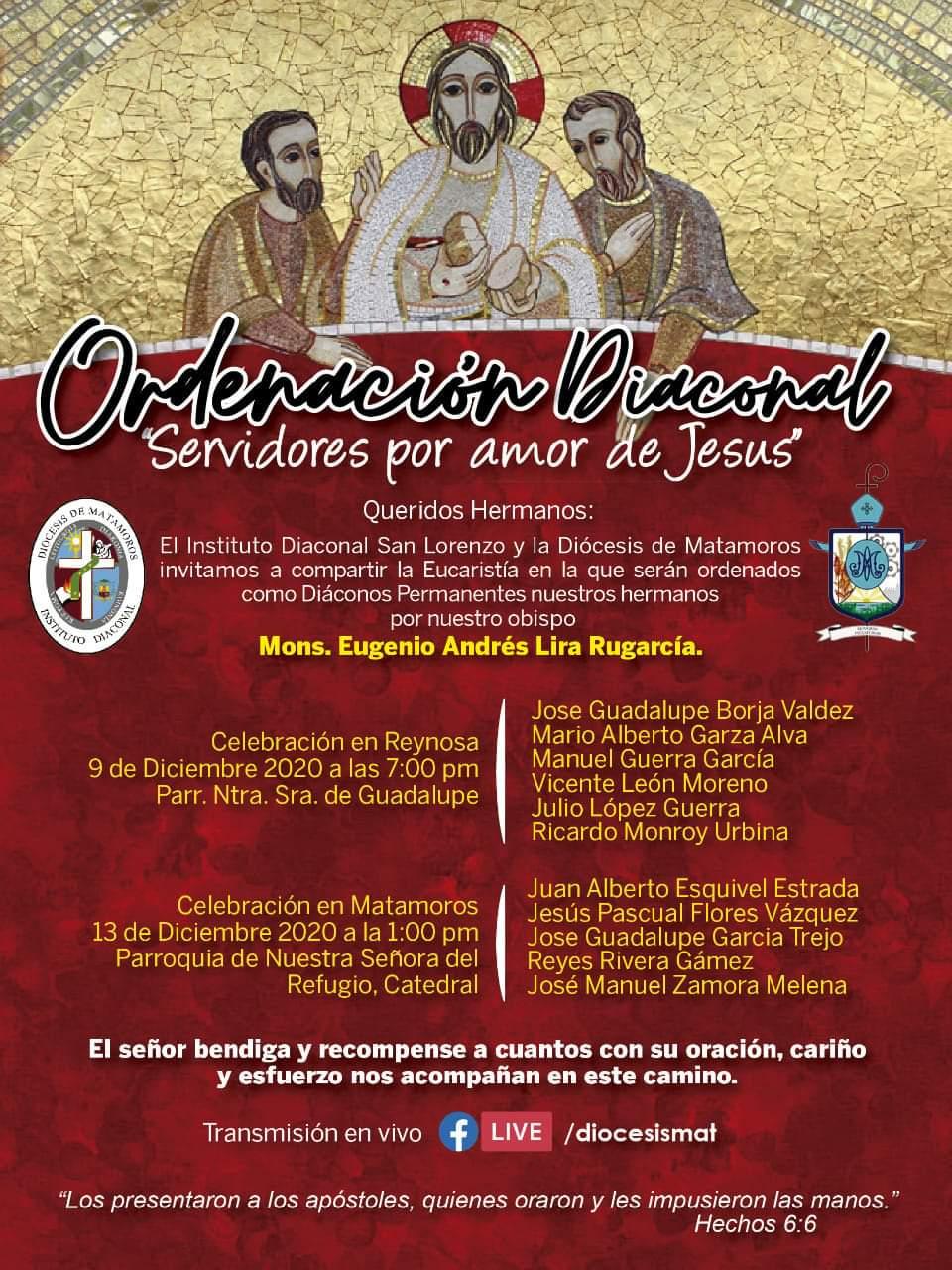 Once nuevos diáconos en la diócesis de Matamoros – México-