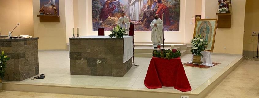 Manuel Zarzo, diácono adscrito a la Pastoral Universitaria, predica en la festividad de la  Virgen de Guadalupe