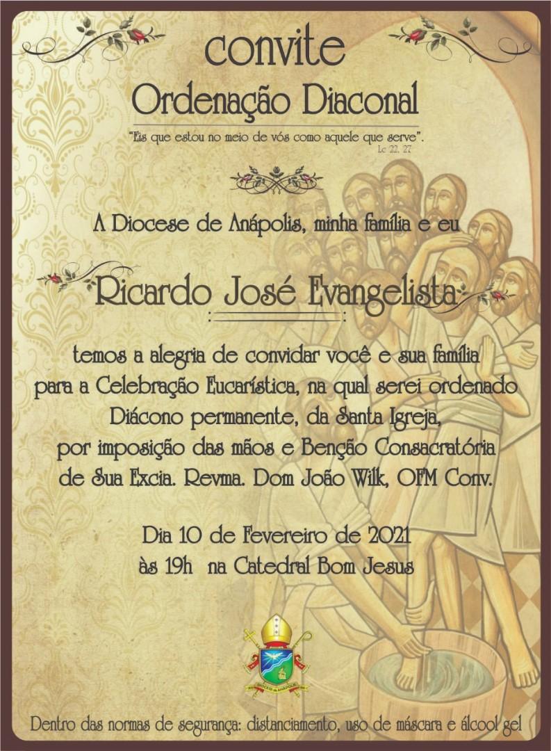 Convite de Ordenação Diaconal da Diocese de Anápolis (GO, Brasil)