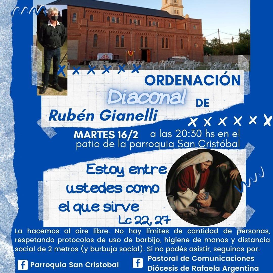 Homilía de monseñor en la ordenación del diácono Rubén Gianelli en Rafaela, Argentina