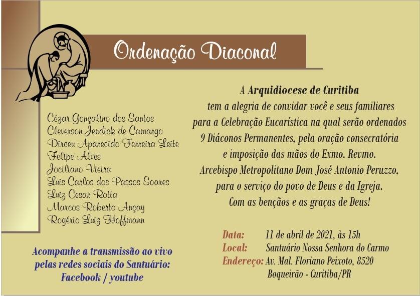 Arquidiocese de Curitiba Brasil: Nove diáconos Permanentes serão ordenados neste domingo