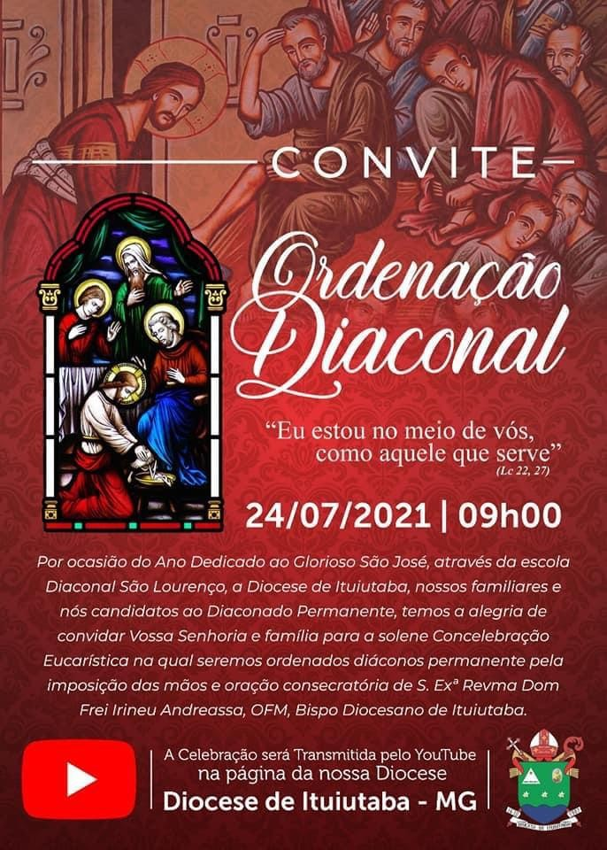 Convite de Ordenações Diaconais na Diocese de Ituiutaba (MG, Brasil)