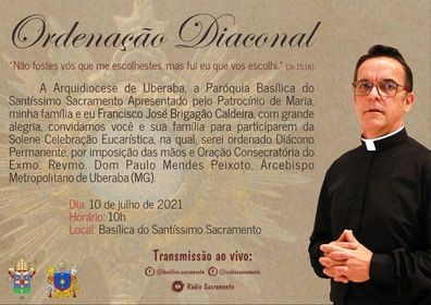CONVITE DE ORDENAÇÃO DIACONAL DA ARQUIDIOCESE DE UBERABA (MG, BRASIL)