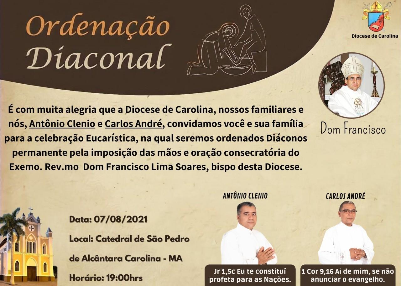 Convite de Ordenações Diaconais da Diocese de Carolina (MA, Brasil)