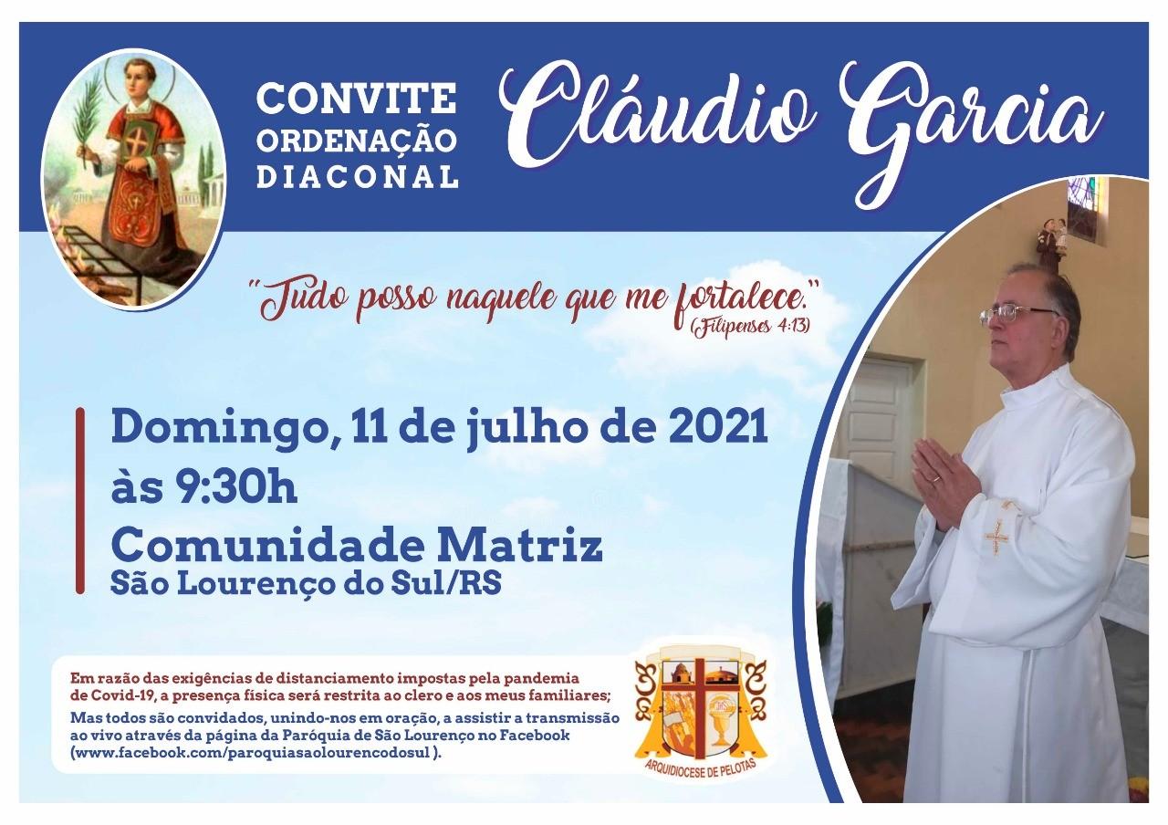 Convite para Ordenação Diaconal da Arquidiocese de Pelotas (RS, Brasil)