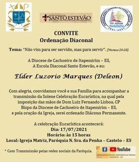 CONVITE DE ORDENAÇÃO DIACONAL PERMANENTE DA DIOCESE DE CACHOEIRO DE ITAPEMIRIM (ES, Brasil)